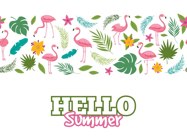 Tropical leaves and flamingo pattern. hello summer background design Premium Vector