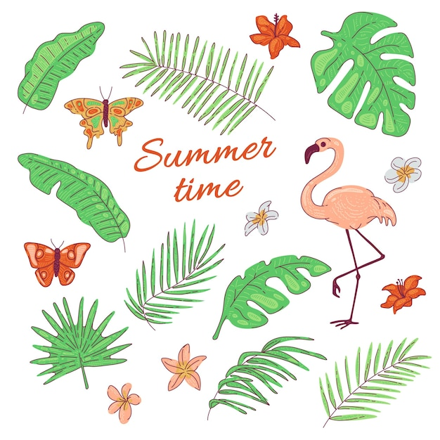 Тропические листья, цветы, бабочка, фламинго, экзотический кокос и банановая пальма. летняя иллюстрация Premium векторы