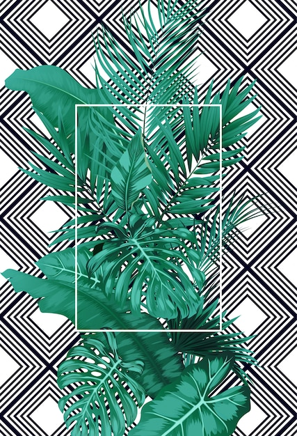Tropical leaves and frame square on pattern Premium Vector