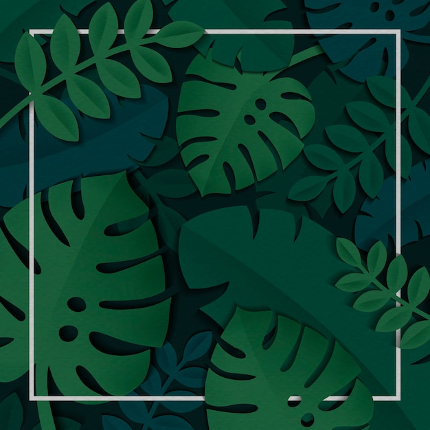 Tropical leaves frame Free Vector