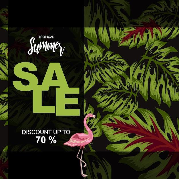 Tropical leaves illustration for summer sale poster Premium Vector