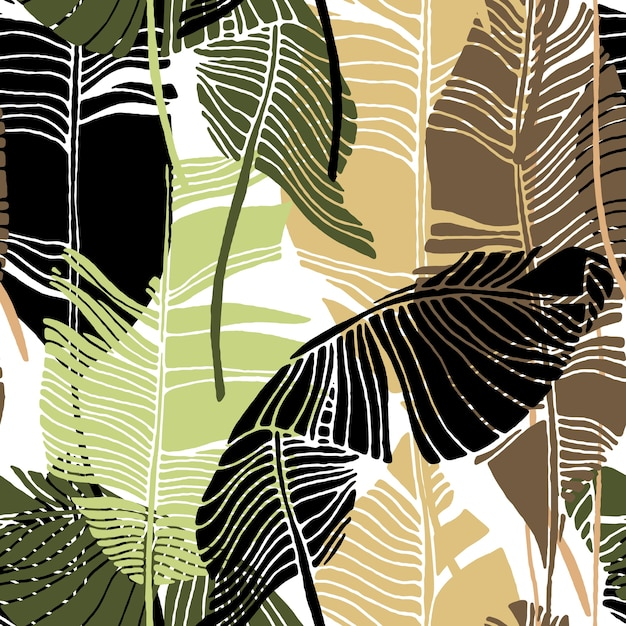 Tropical leaves, jungle pattern. seamless, detailed botanical vector  pattern with banana Premium Vector