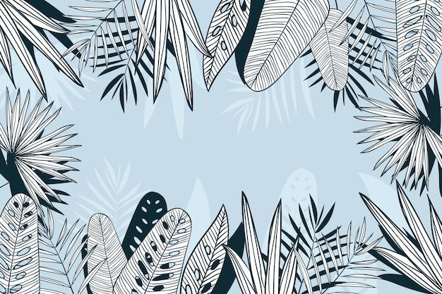Foglie tropicali sfondo lineare Vettore gratuito