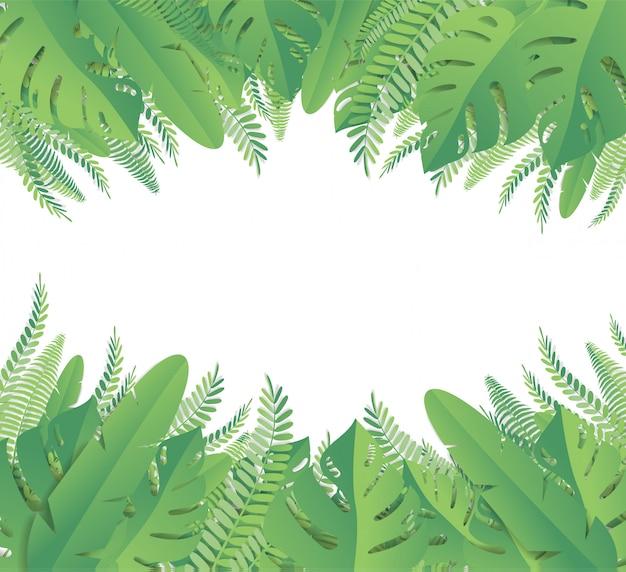 Tropical leaves. paper cut style Premium Vector