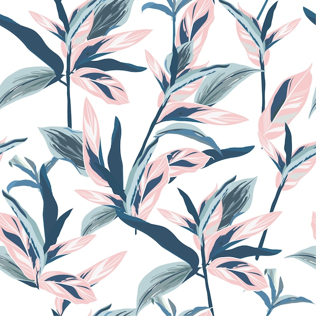 Tropical leaves on pastel mood seamless graphic design Premium Vector