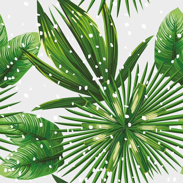 Tropical leaves pattern snow Premium Vector