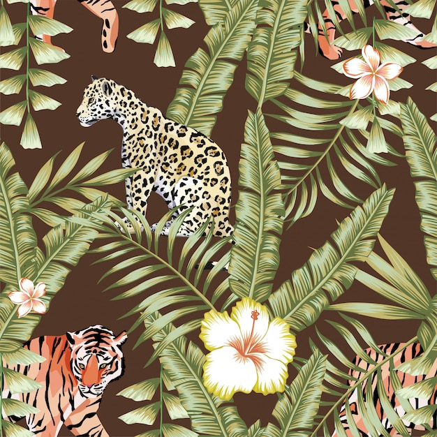 Tropical leaves pattern tiger panther brown background Premium Vector