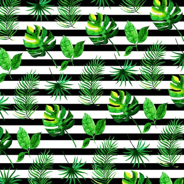 Tropical leaves pattern in watercolor style with stripes Free Vector