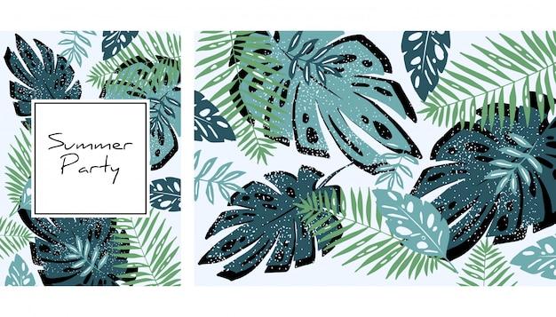 Tropical leaves pattern Premium Vector