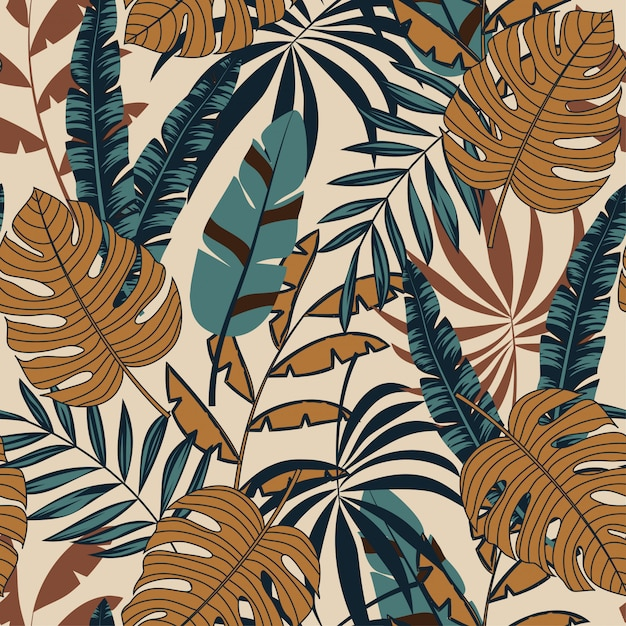 Tropical leaves and plants Premium Vector