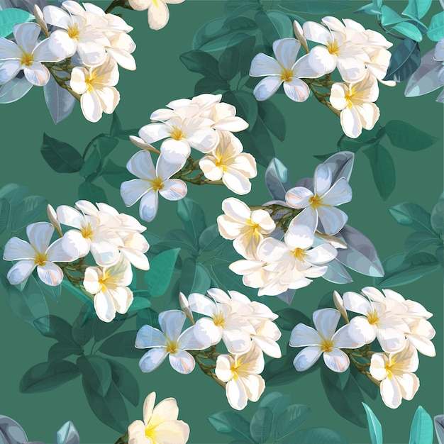 Tropical leaves and plumeria flower seamless pattern Premium Vector