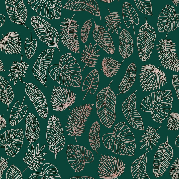 Tropical leaves rose gold  lines seamless pattern Premium Vector