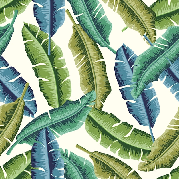 Tropical leaves seamless pattern design Premium Vector