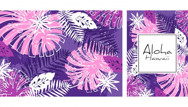 Tropical leaves seamless pattern, handdrawn watercolor vector illustration. monstera and palms print. summer design. Premium Vector