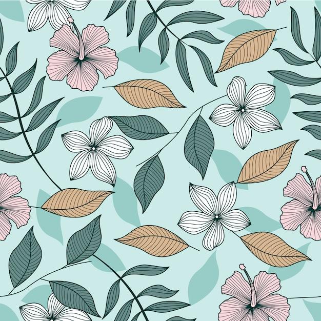 Tropical leaves seamless pattern wallpaper Premium Vector