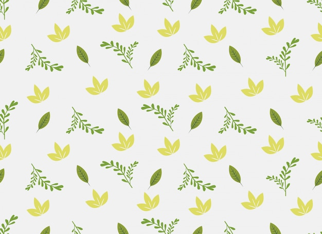 Tropical leaves seamless pattern on white background. Premium Vector