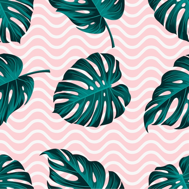 Tropical leaves seamless pattern with wavy lines Premium Vector