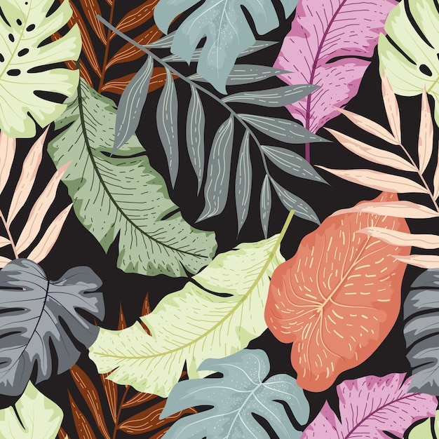 Tropical leaves seamless pattern Premium Vector