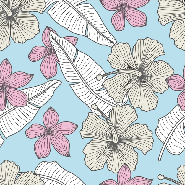 Tropical leaves seamless pattern Premium Vector