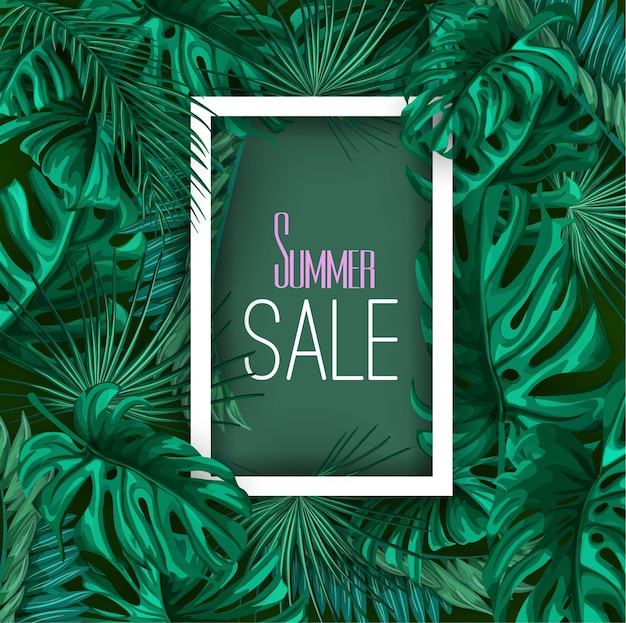 Tropical leaves summer sale banner poster background template. jungle forest palm monstera floral exotic plant aloha hawaii botanical frame. vintage retro spring illustration beach party layout Premium Vector