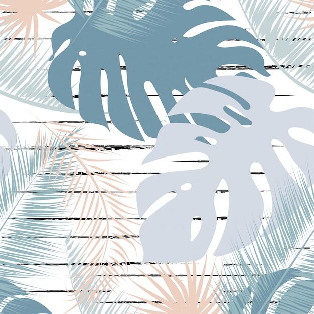 Tropical leaves trendy colors seamless pattern. Premium Vector