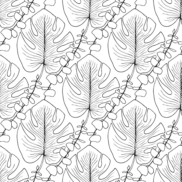 Tropical Leaves Vector Pattern Seamless For Adult Coloring Book Page Or Interior Summer