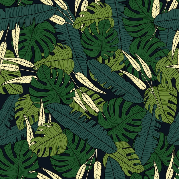 Premium Vector Tropical Leaves Vector Seamless Pattern On Black Background Leaves design resources · high quality aesthetic backgrounds and wallpapers, vector illustrations, photos, pngs, mockups, templates and art. https www freepik com profile preagreement getstarted 6298288
