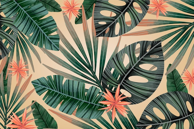 Free Vector Tropical Leaves Vintage Background You can scale a vector image as large as you wish without a loss in quality. free vector tropical leaves vintage