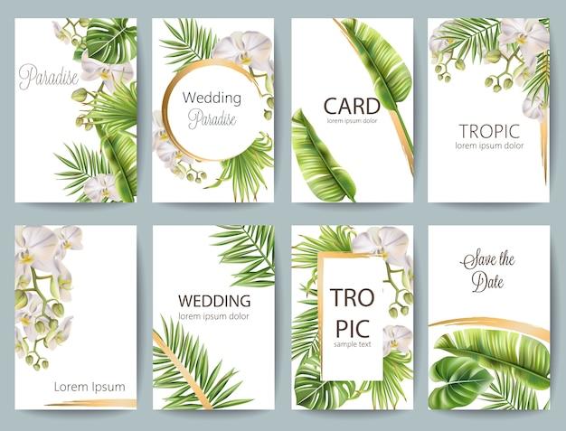 熱帯の葉結婚式のグリーティングカードセットの花とテキストのための場所 無料ベクター
