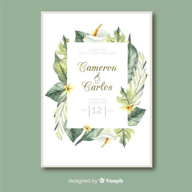Tropical leaves wedding invitation template watercolor style Free Vector