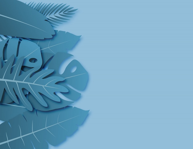 Tropical leaves with blue green pastel colors paper cut style on background Premium Vector