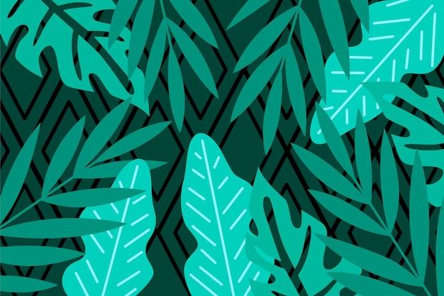 Foglie tropicali con sfondo geometrico Vettore gratuito