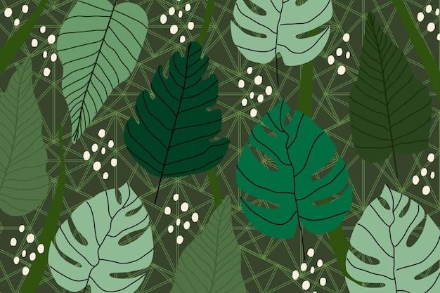 Тропические листья с геометрическим фоном Бесплатные векторы