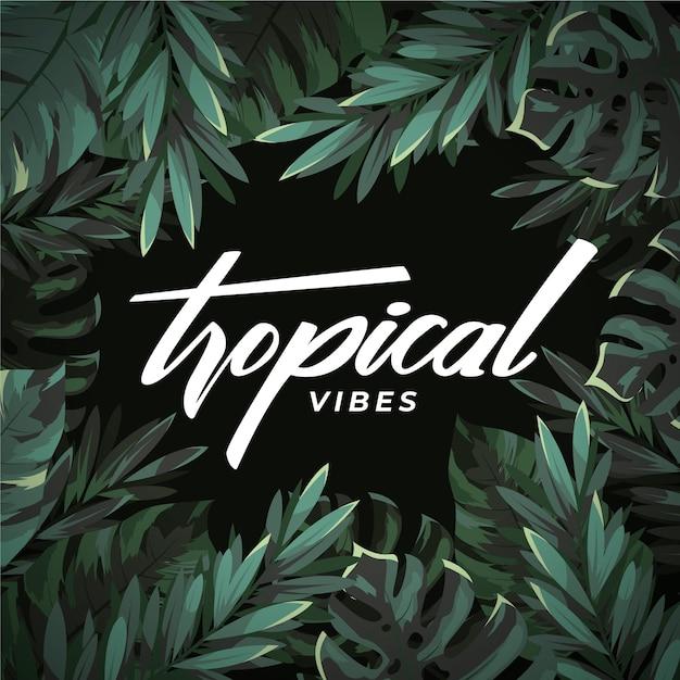 Тропический дизайн надписи с листьями Premium векторы