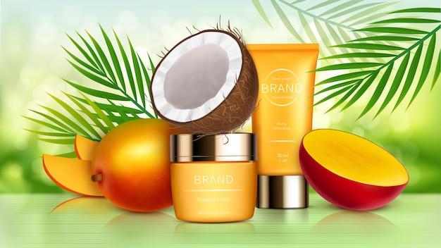 Тропическая манго и кокосовая косметика Бесплатные векторы