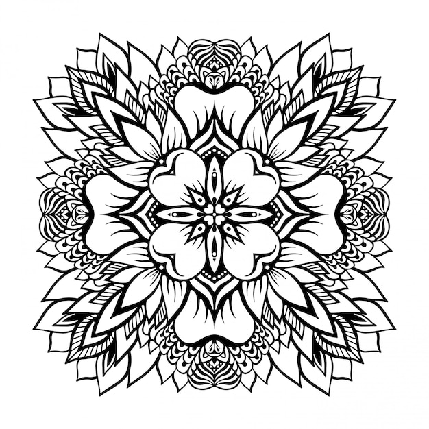 Tropical Monochrome Mandala With A Lotus Flower In The Center