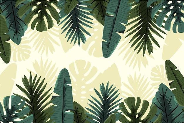 Tropical mural wallpaper concept Free Vector
