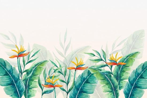 熱帯の壁画壁紙の葉と花 無料ベクター