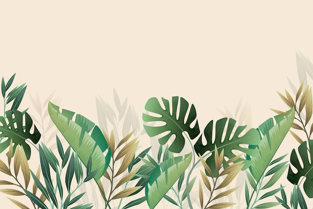 Tropical mural wallpaper monstera and palm leaves Free Vector
