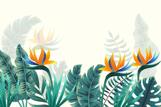 Tropical mural wallpaper with flowers Free Vector