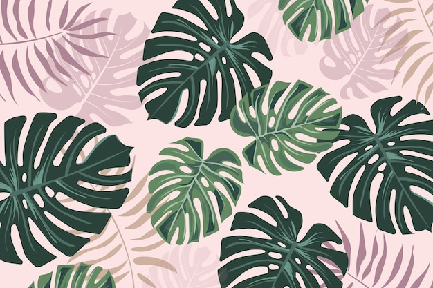 Tropical mural wallpaper Premium Vector