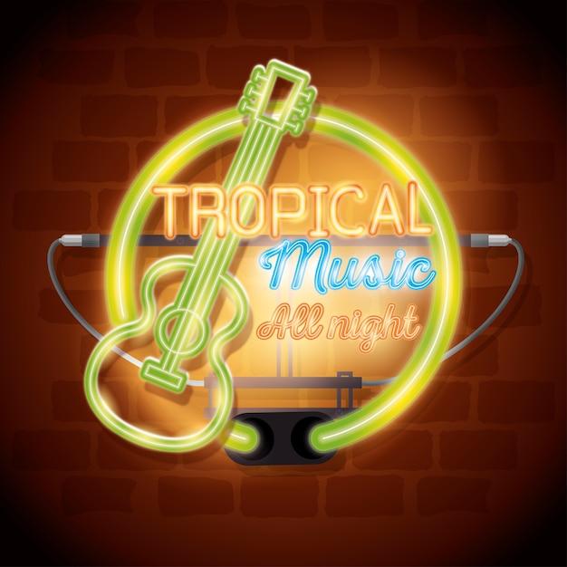 Tropical music bar neon label vector illustration design Premium Vector