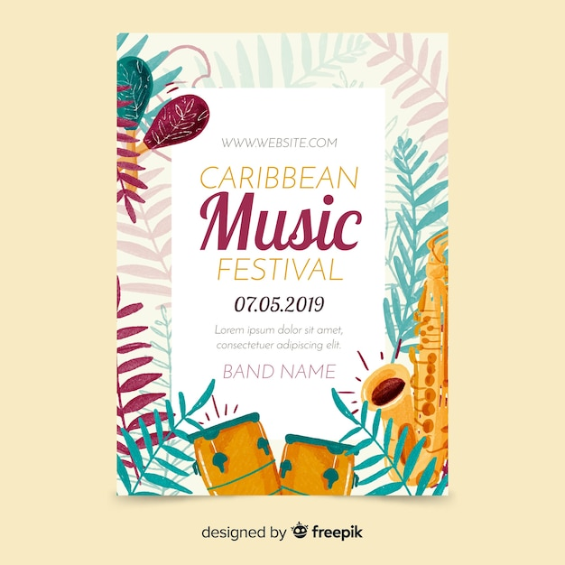 Tropical music festival poster template Free Vector