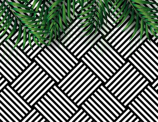 Тропические природные пальмы черно-белый фон. векторные иллюстрации Premium векторы