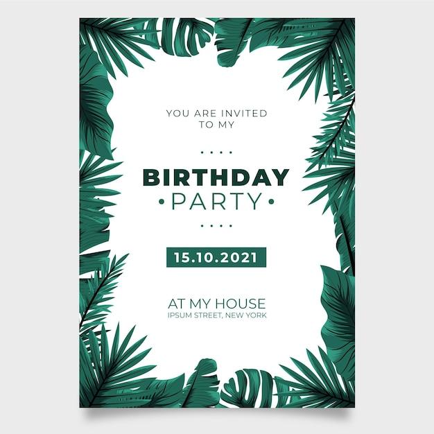 Natura tropicale con invito a una festa di compleanno di foglie esotiche Vettore gratuito