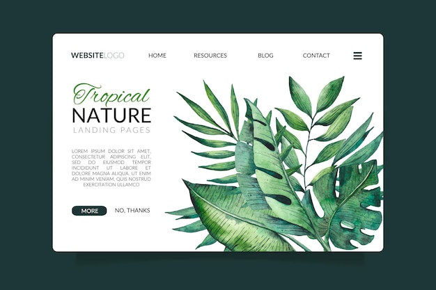 Tropical nature with exotic leaves landing page Free Vector