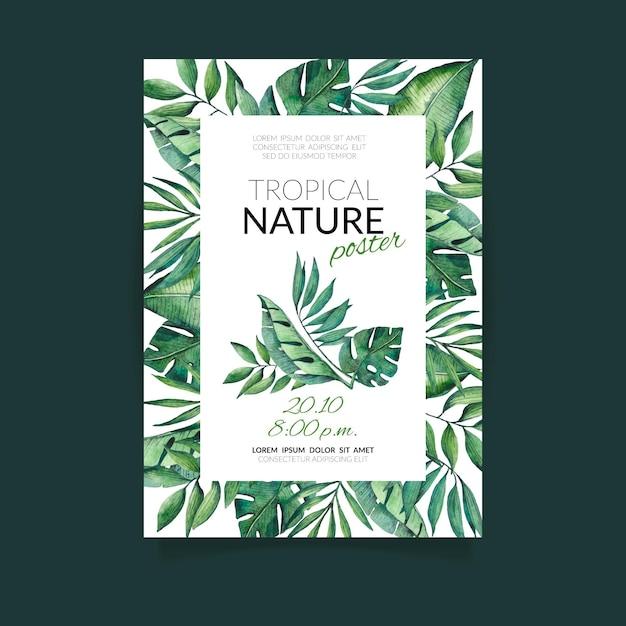 이국적인 나뭇잎 포스터 템플릿 열대 자연 무료 벡터