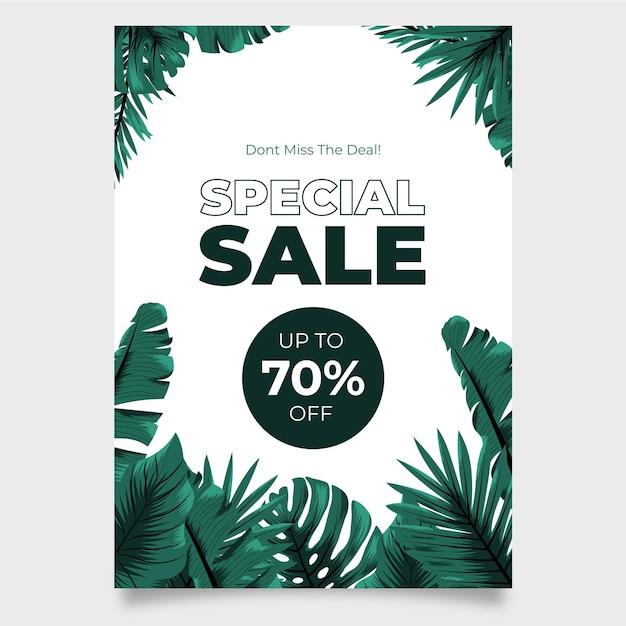 이국적인 잎 판매 포스터와 열 대 자연 무료 벡터