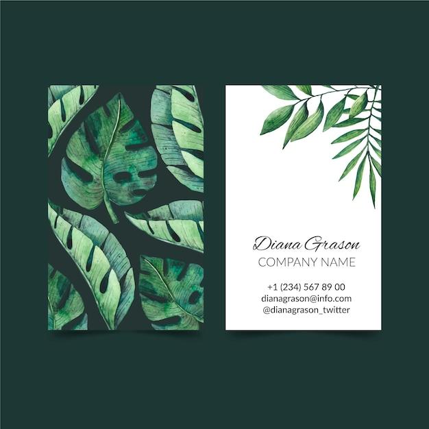 Natura tropicale con foglie esotiche verticale biglietto da visita fronte-retro Vettore gratuito