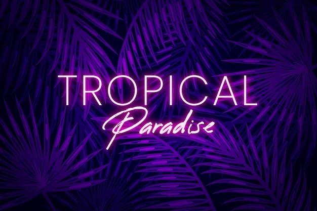 Тропическая неоновая надпись с листьями Бесплатные векторы